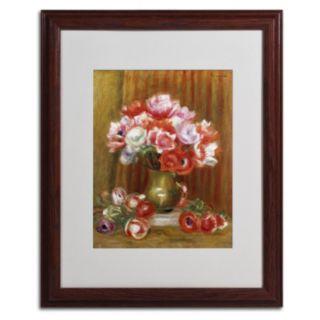 "Trademark Fine Art ""Anemones 1909"" Wood Finish Matted Framed Wall Art by Pierre Renoir"