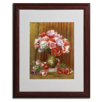 "Trademark Fine Art ""Anemones 1909"" Wood Finish Matted Framed Wall Art by Pierre Renoir"