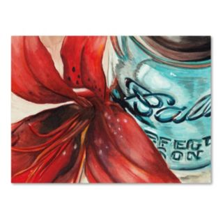 Trademark Fine Art Ball Jar Red Lily Canvas Wall Art