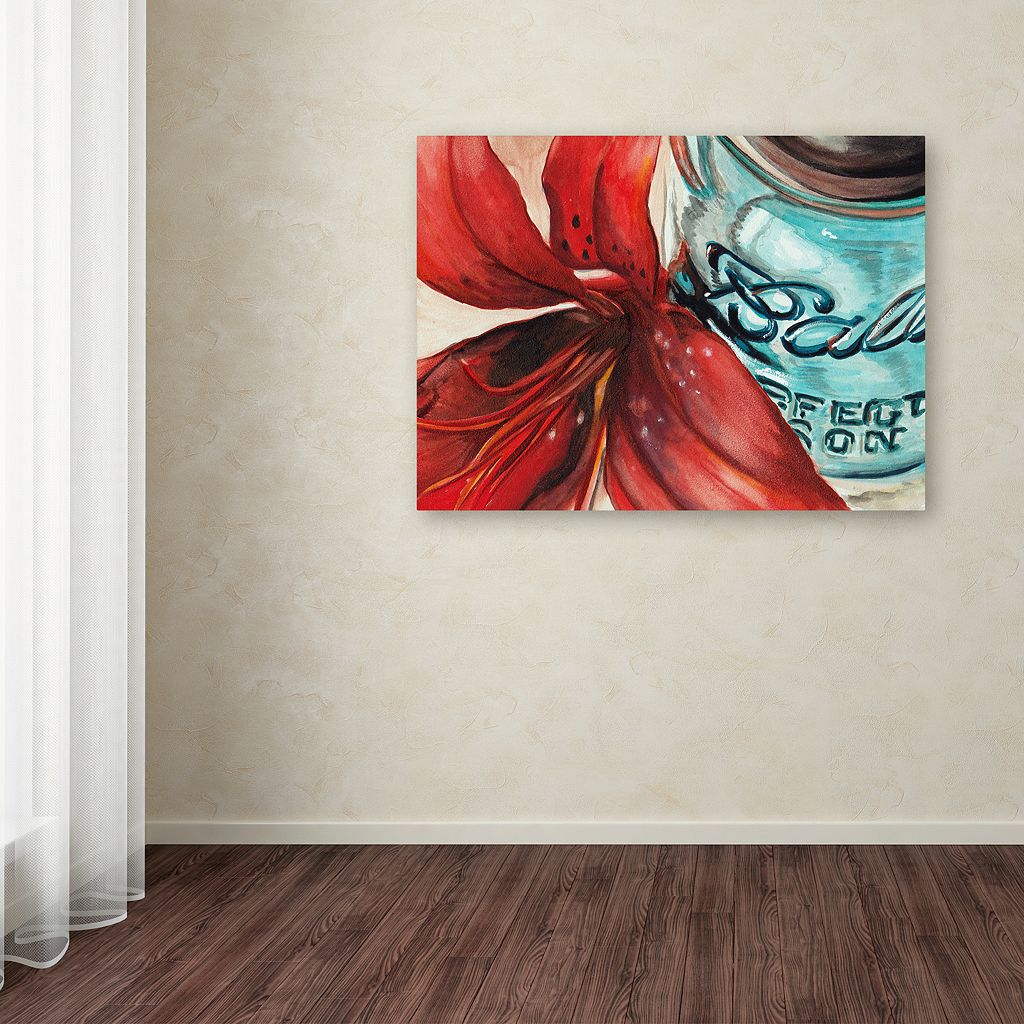 Trademark Fine Art Ball Jar Red Lily Canvas Wall Art