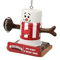 Forever Collectibles Wisconsin Badgers S'more Snowman Christmas Ornament