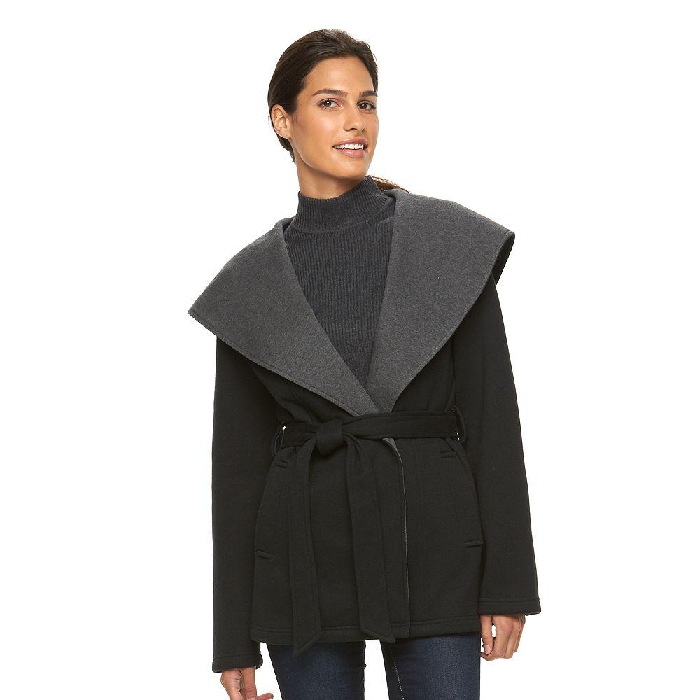 Sebby Collection Hooded Fleece Wrap Jacket
