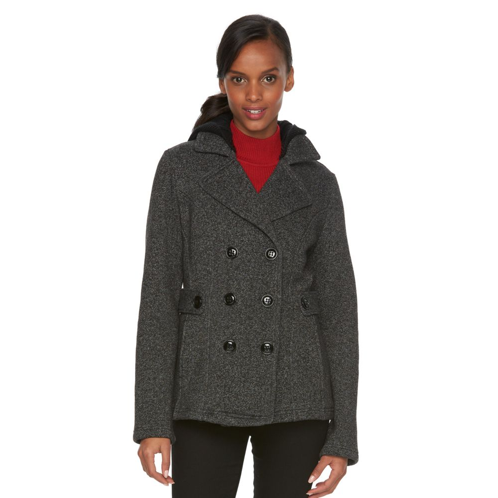 Sebby Collection Hooded Fleece Double-Breasted Peacoat
