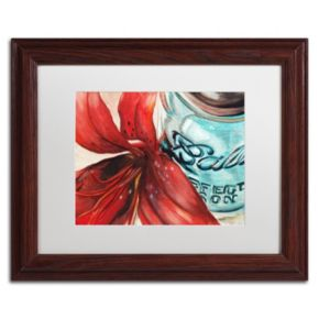 Trademark Fine Art Ball Jar Red Lily Wood Finish Matted Framed Wall Art
