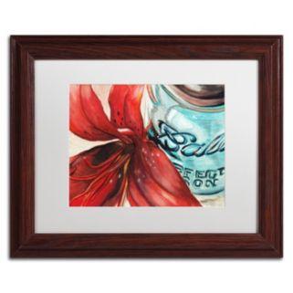 Trademark Fine Art Ball Jar Red Lily Wood Finish Matted Framed Wall Art
