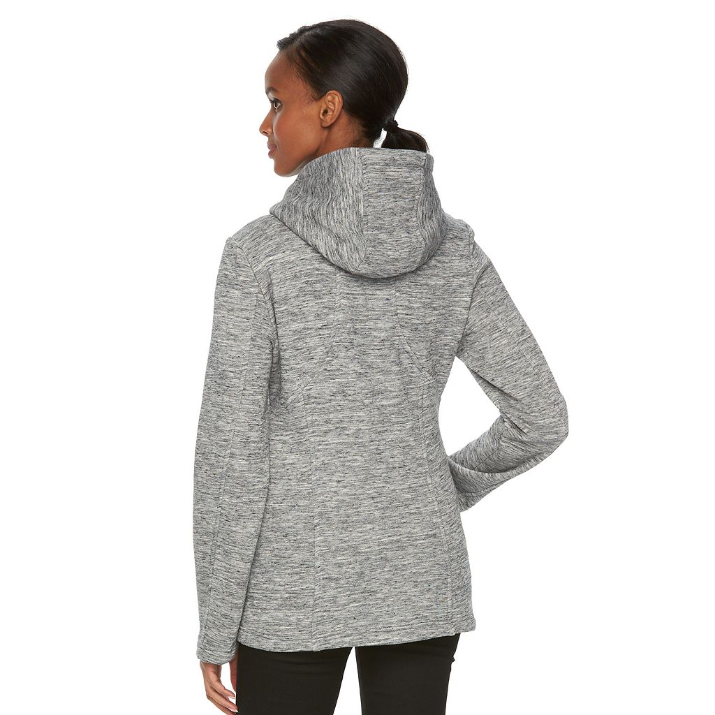 Women's Sebby Collection Hooded Marled Fleece Jacket