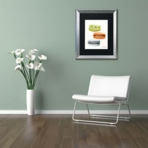 Trademark Fine Art 3 Macarons No Words Silver Finish Matted Framed Wall Art