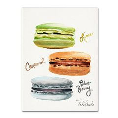 Trademark Fine Art 3 Macarons with Words Canvas Wall Art