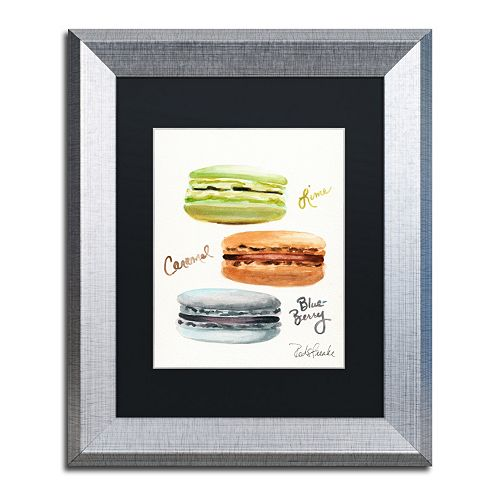 Trademark Fine Art 3 Macarons with Words Silver Finish Matted Framed Wall Art