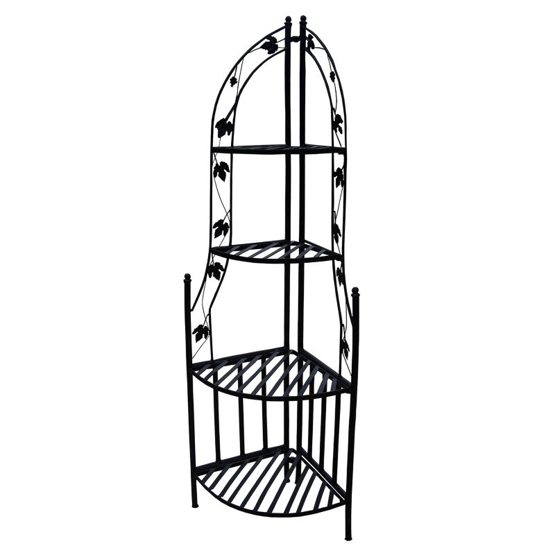 Corner Shelf Plant Stand, Black