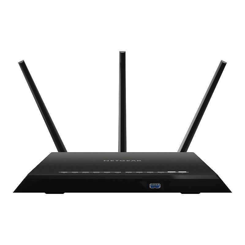 Netgear Nighthawk AC1900 Dual-Band Wireless Router, Multicolor For a powerful home wireless network, look no further than this Netgear Nighthawk AC1900 dual-band wireless router. Step up your Wi-Fi speed with prioritized streaming for gaming and video 1GHz dual-core processor for advanced speed and performance Delivers speeds of 600-1300 Mbps Advanced features for lag-free gaming Improved mobile device speed What's Included Router 3 detachable antennas Ethernet cable Power adapter 1.97 H x 11.22 W x 7.26 D Weight: 1.7 lbs. Inputs & outputs: internet, Ethernet, USB 2.0, USB 3.0 Cord length: 36 in. Compatible with Microsoft Windows 7, 8, Vista, XP, 2000; Mac OS, Unix, Linux Compatible with Internet Explorer 5.0, Firefox 2.0, Safari 1.4, Google Chrome 11.0 or higher Manufacturer's 1-year limited warrantyFor warranty information please click hereFor information about the modified return policy, please click here Model no. R7000-100NAS Size: One Size. Color: Multicolor.