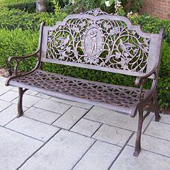 Golfer Cast Aluminum Outdoor Bench