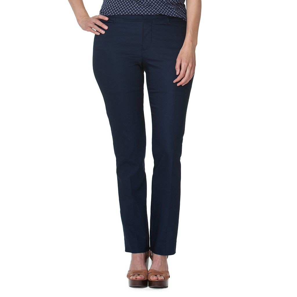 Plus Size Chaps Solid Skinny Pants