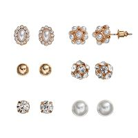 Mudd® Simulated Crystal & Simulated Pearl Stud Earring Set