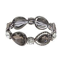 Jet Teardrop & Simulated Crystal Stretch Bracelet