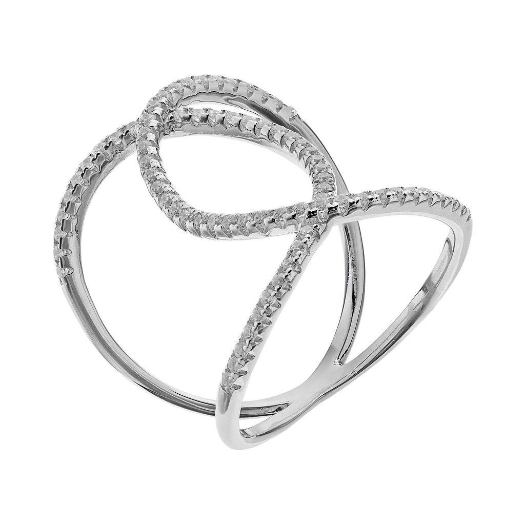 Silver Tone Cubic Zirconia Double Loop Ring