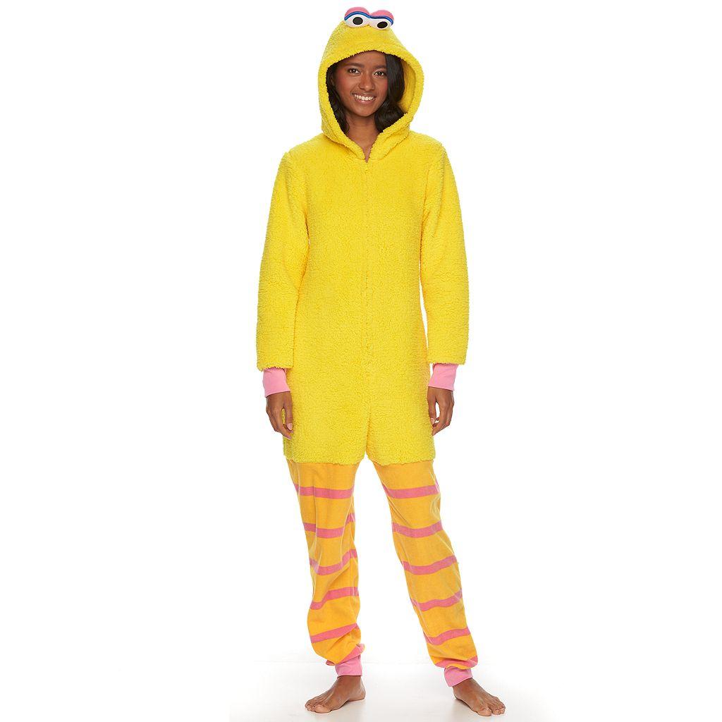 Juniors' Sesame Street Big Bird Hooded Sherpa One-Piece Pajamas