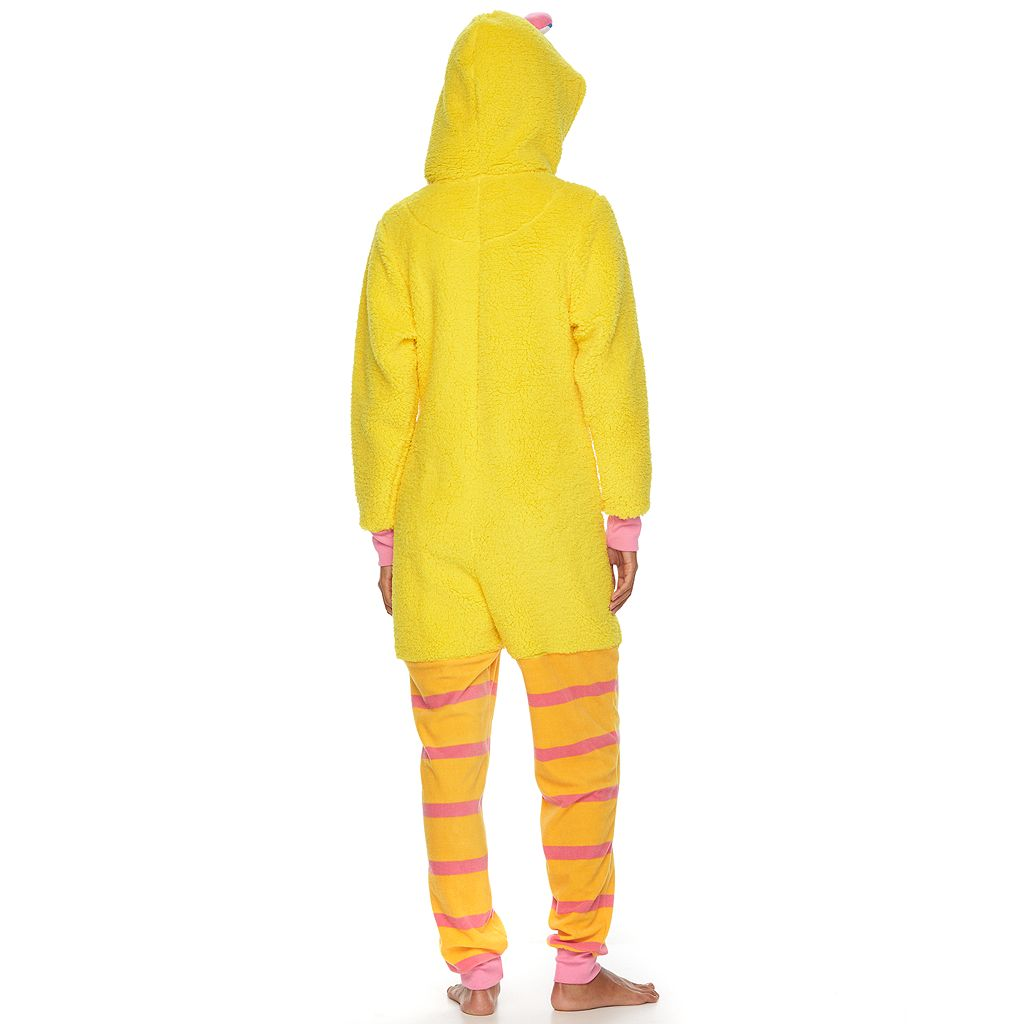 Juniors' Sesame Street Big Bird Hooded Sherpa One-Piece Pajamas