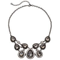 Black Faceted Teardrop Statement Necklace