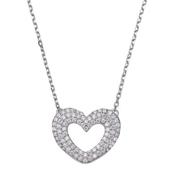 Silver Tone Cubic Zirconia Heart Link Necklace