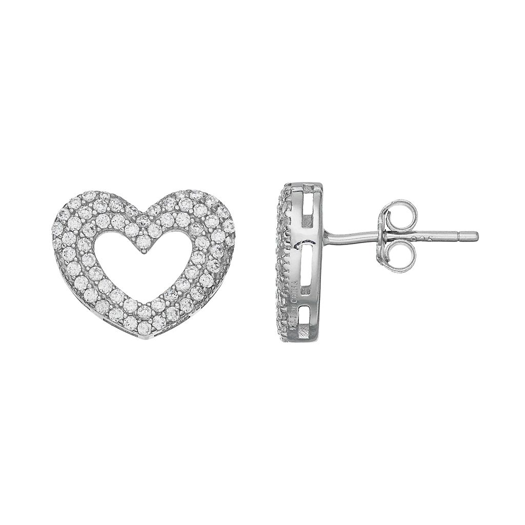 Silver Tone Cubic Zirconia Heart Stud Earrings