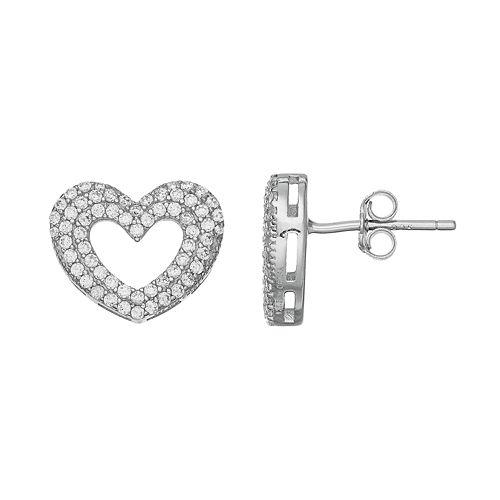 Silver Tone Cubic Zirconia Heart Stud Earrings