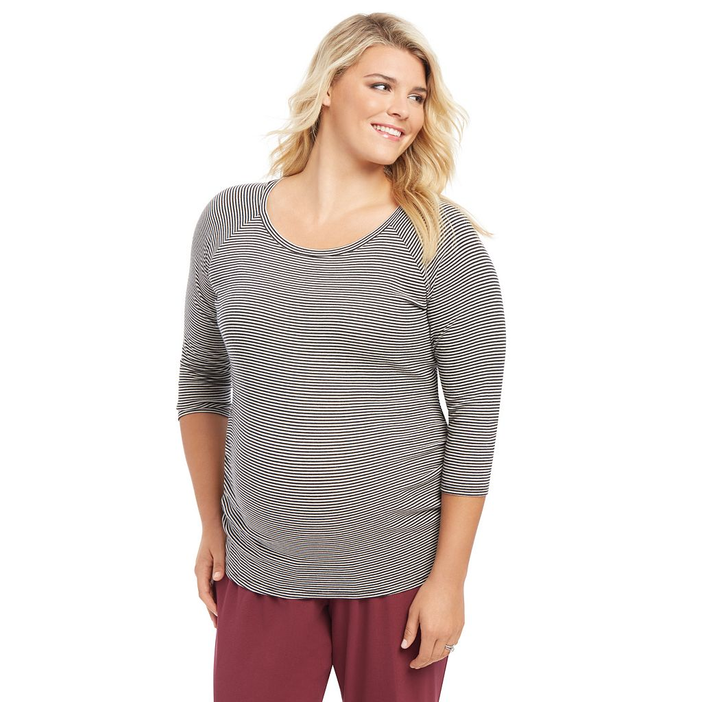 Plus Size Maternity Oh Baby by Motherhood™ Ruched Raglan Tee
