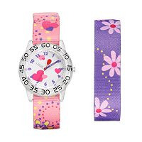Red Balloon Kids' Time Teacher Watch & Interchangeable Floral Band Set