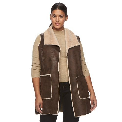 Plus Size Weathercast Faux-Shearling Vest