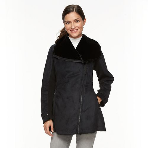 Women's Weathercast Asymmetrical Faux-Shearling Jacket