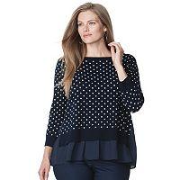 Plus Size Chaps Polka-Dot Mock-Layer Sweater