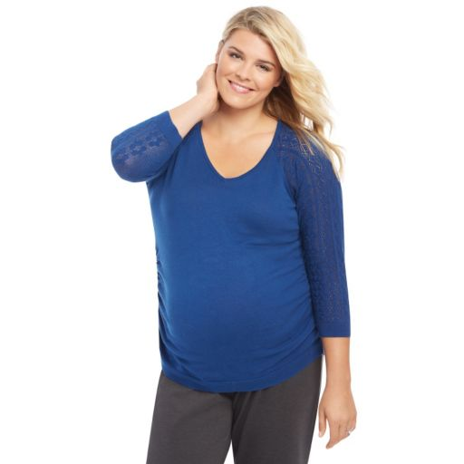 Plus Size Maternity Oh Baby by Motherhood™ Pointelle V-Neck Sweater