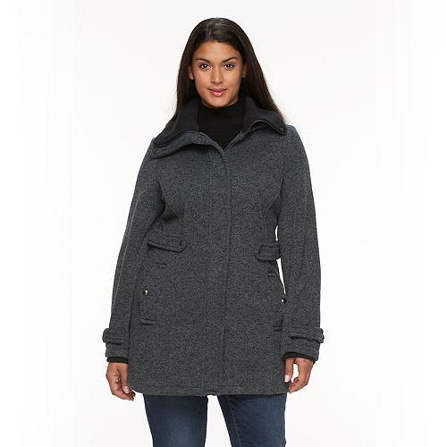 Plus Size Weathercast Hooded Fleece Walker Jacket