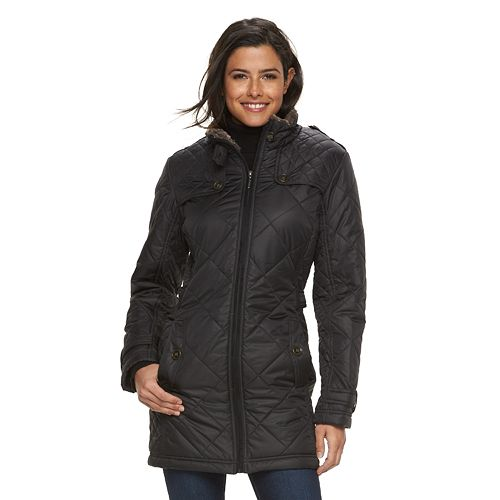 Women's Weathercast Quilted Hooded City Walker Coat