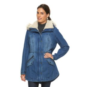 Women's Sebby Collection Hooded Anorak Denim Parka