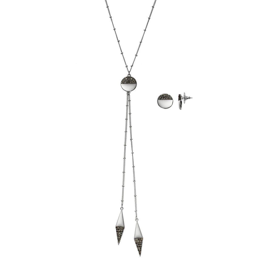 Geometric Bolo Necklace & Drop Earring Set
