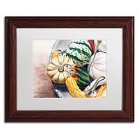 Trademark Fine Art Autumn Gourds Wood Finish Framed Wall Art