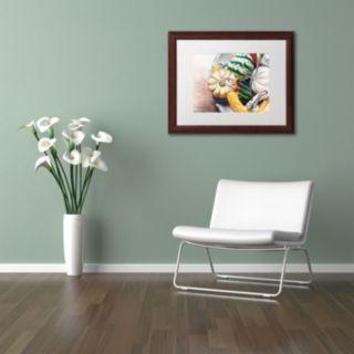 Trademark Fine Art Autumn Gourds Wood Finish Framed Wall Art