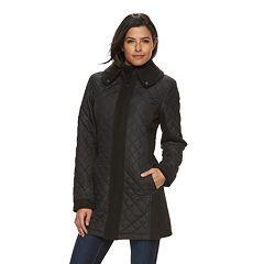 Women's Weathercast Quilted Mixed-Media Walker Coat