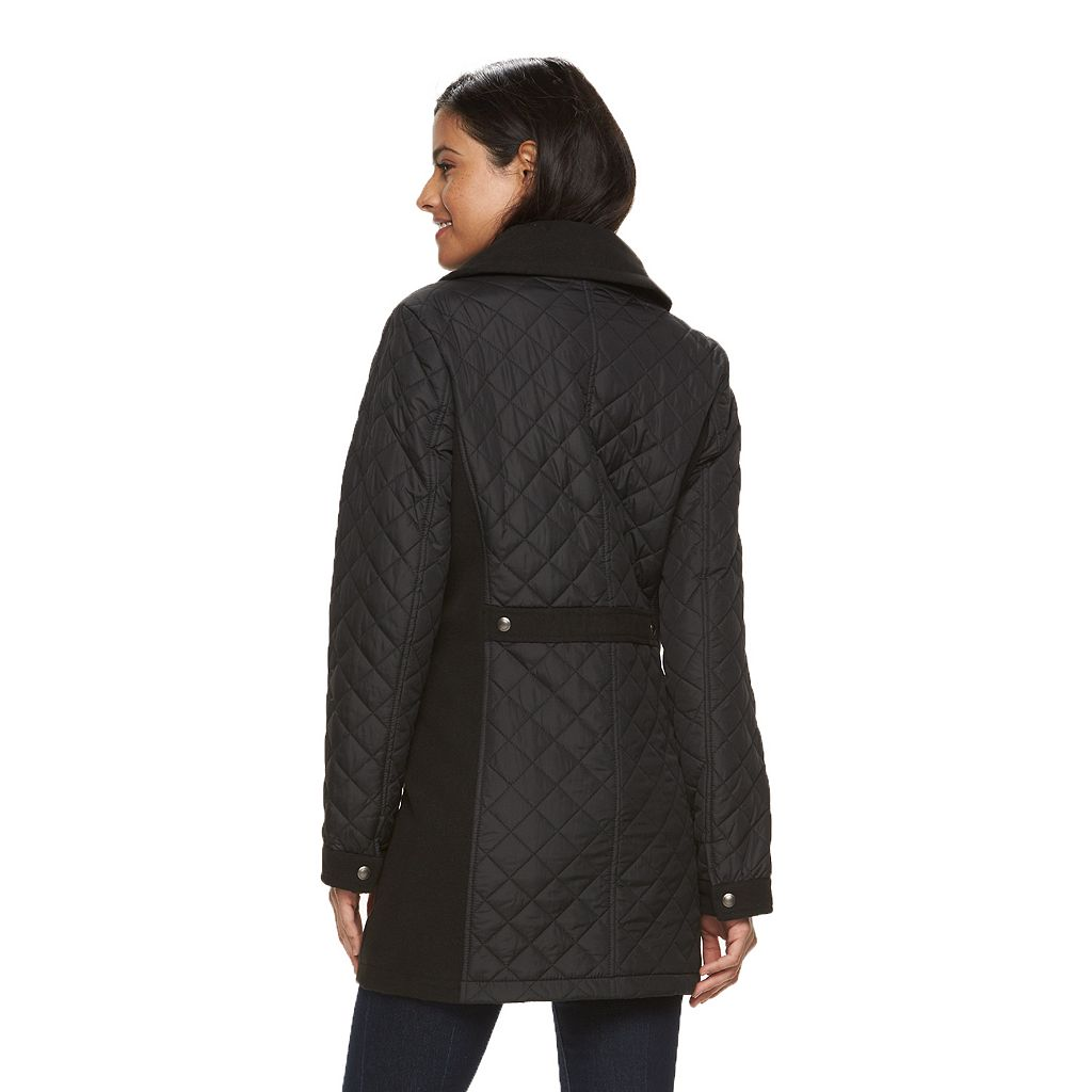 Women's Weathercast Quilted Mixed-Media Walker Coat