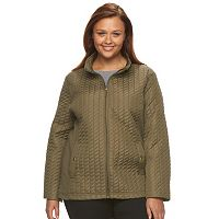 Plus Size Weathercast Solid Quilted Jacket