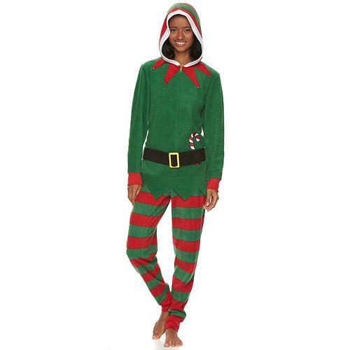 juniors elf hooded microfleece one piece pajamas - Juniors Christmas Pajamas