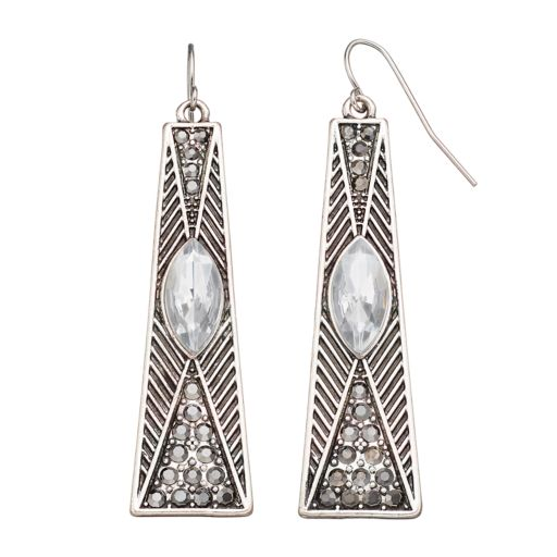 Marquise Stone Nickel Free Bar Drop Earrings