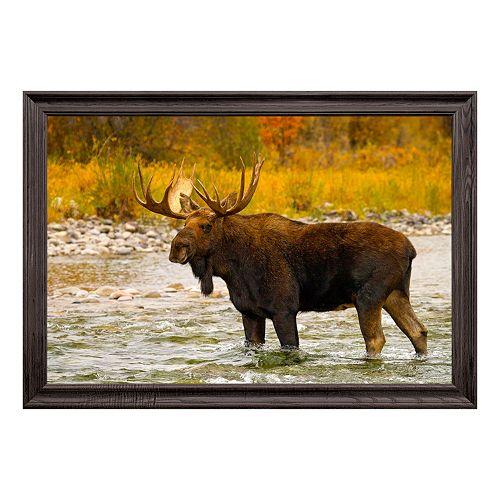 Reflective Art Aqua Moose Framed Wall Art
