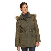 Women's Sebby Collection Hooded Trapunto Anorak Parka