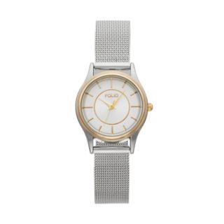 Folio Women's Crystal Two Tone Mesh Watch