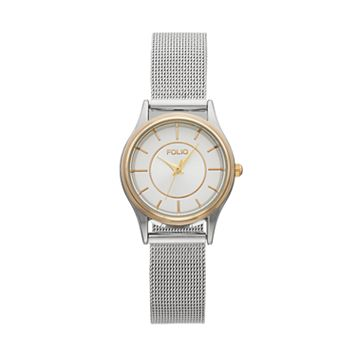 Folio Women's Crystal Two Tone Mesh Watch