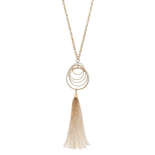 Long Textured Circle Tassel Y Necklace