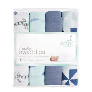 aden by aden + anais SwaddlePlus 4-pk. Baby Boy Muslin Blankets