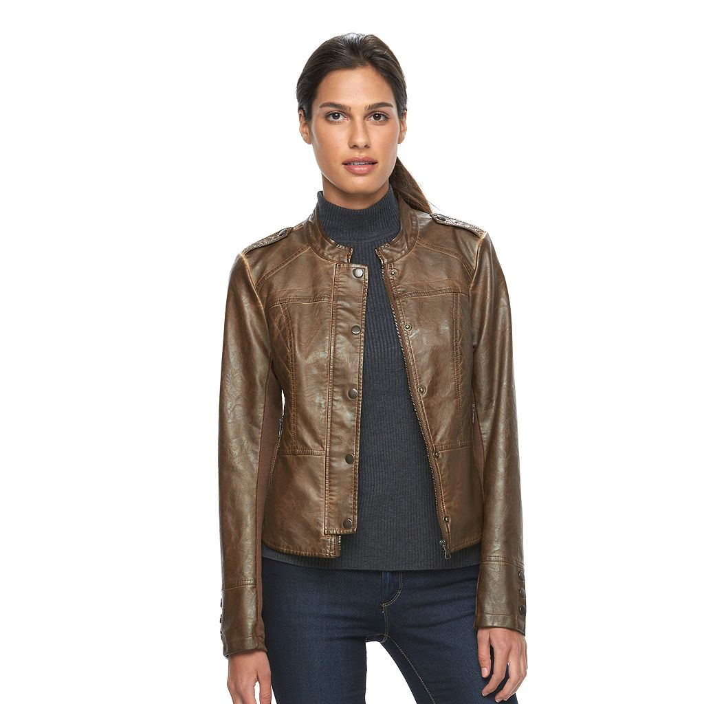 Women's Sebby Collection Low-High Faux-Leather Motorcycle Jacket